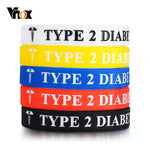 Vnox 5pcs/ Set TYPE 1/ 2 DIABETES 12mm Silicone Bangle For Women Men Bracelets Casual Emergency Medical Reminder Jewelry