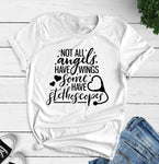 Not All Angels Have Wings Some Have Stethoscopes Gift for Nursing School Student T-Shirt slogan fashion shirt quote goth tee top