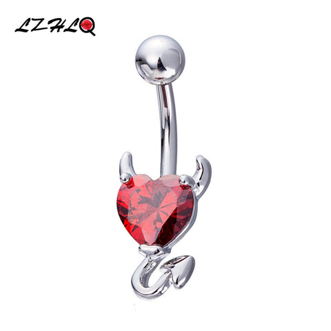 LZHLQ Brand Body Jewelry 2017 Women Fashion Medical Stainless Steel Maxi Devil Navel Ring Heart Rhinestone Belly Button Rings