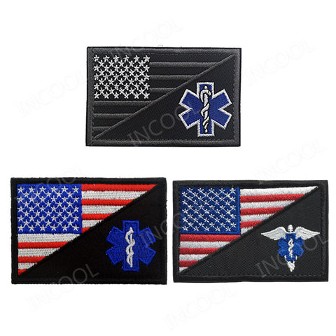 American Flag Paramedic Medic Seals Tactical Morale Embroidery Patch EMT Rescue Patch Combat Emblem Appliques Embroidered Badges