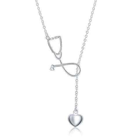 High Quality 925 stamped silver plated Stethoscope Pendant Necklace Heart Doctor Nurse Medical For Women Necklace collares