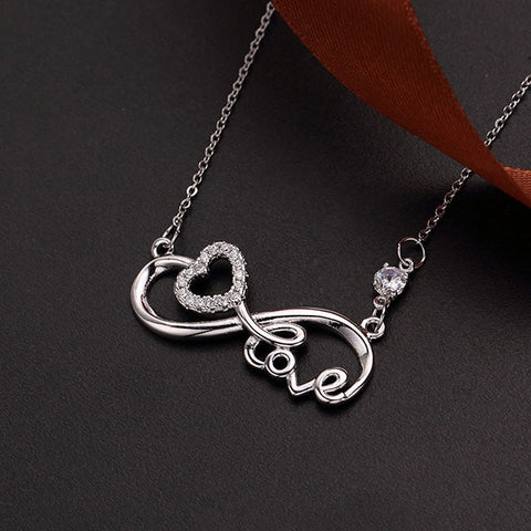 Silver-tone Heartbeat Infinity Necklace Women Stethoscope Choker Necklaces Valentine's Day Birthday Gift for Girlfriend Wife