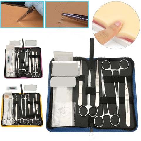 11/13/19Pcs Skin Model Suture Course Needle Scissors Tweezers Tool Set Medical Student Surgical Debridement Practice Suture Kit
