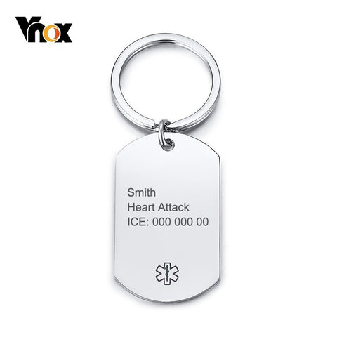 Medical Alert ID Key Chain Stainless Steel ID Tag Accessory
