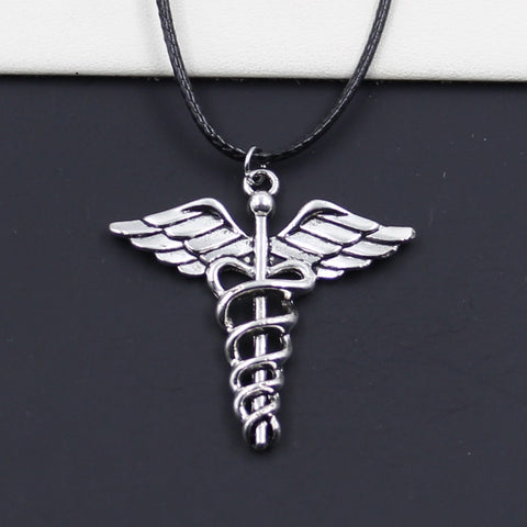 New Durable Black Faux Leather caduceus medical symbol md Pendant Cord Choker DIY Necklace Retro Boho Tibetan Silver