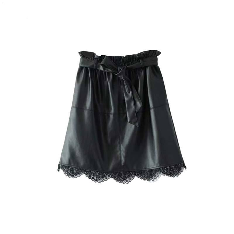 Women's Black Lace Trim Leather Mini Skirt