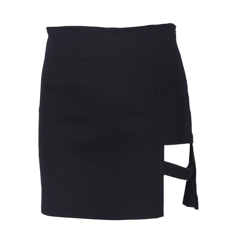 Women's Black Asymmetrical Punk Mini Skirt