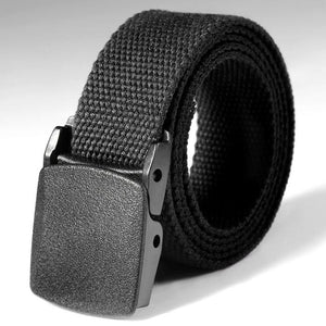 Unisex Black Military Style Nylon Belt
