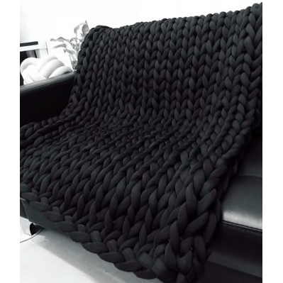 Black Merino Wool Oversize Throw Blanket