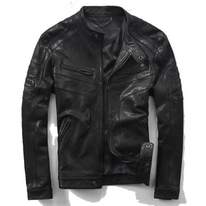 Men's Black Knight Genuine Leather and  Sheepskin Jacket
