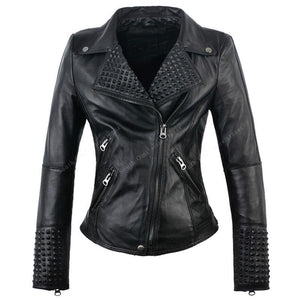 Women's Black Studded Moto Leather Jacket
