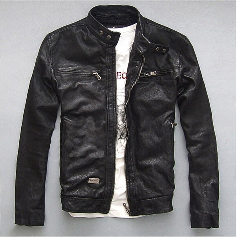 Men's Black Leather Bomber Jacket