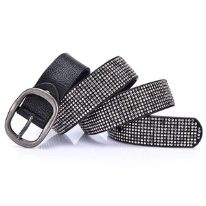 Women's Black Rhinestone Studded Belt