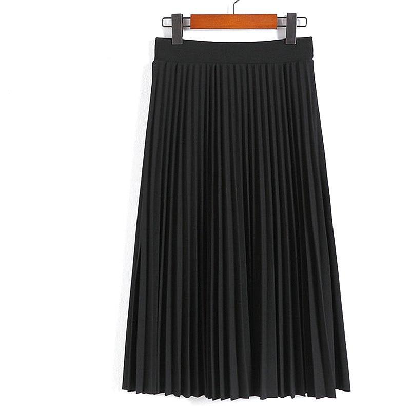 Women's Black Pleated High Waisted Skirt