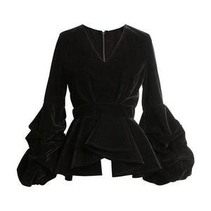 Women's Black Velvet Puff Couture Jacket