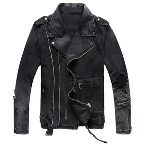 Men's Black Sokotoo Zipper Jack Denim Jacket