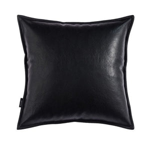 Black Classic Faux Leather Pillow