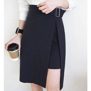 Women's Black Asymmetrical High Waisted Midi Skirt