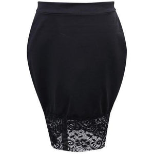 Women's Black Pencil Skirt with Lace Trim