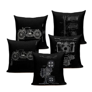 Retro Black Linen Blend Decorative Pillows