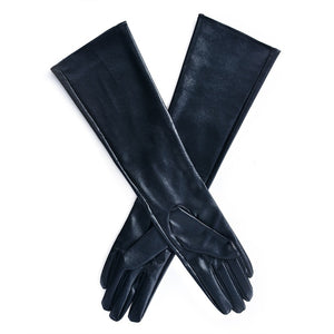 Women's Black Faux Leather Sleeved Gloves