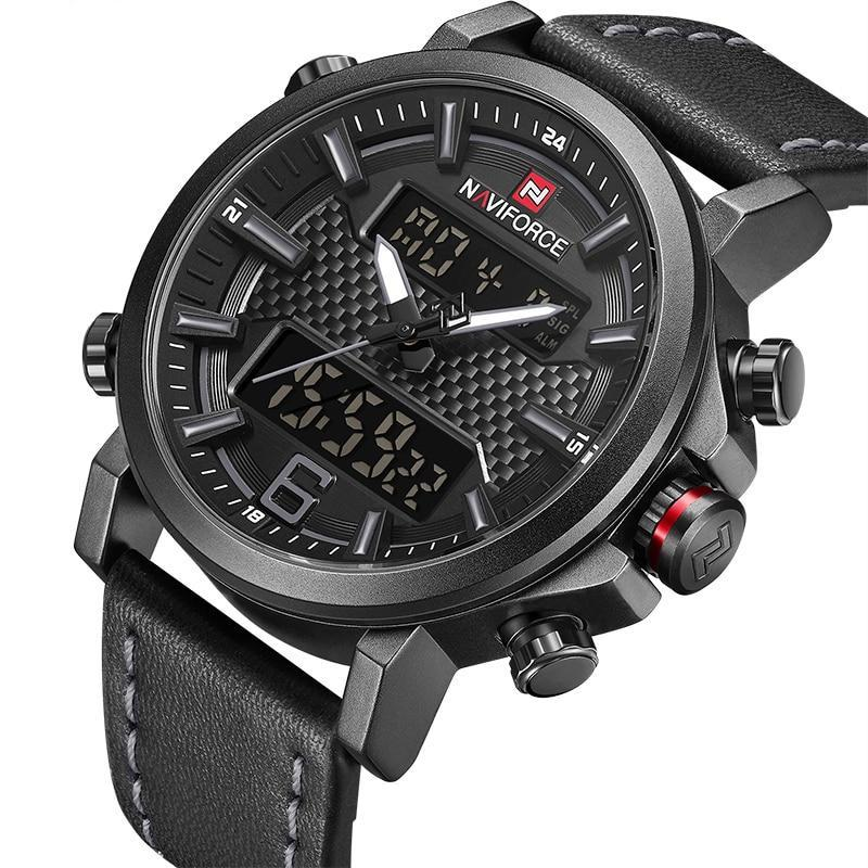 Men's Black NAVIFORCE Leather Waterproof Quartz Watch