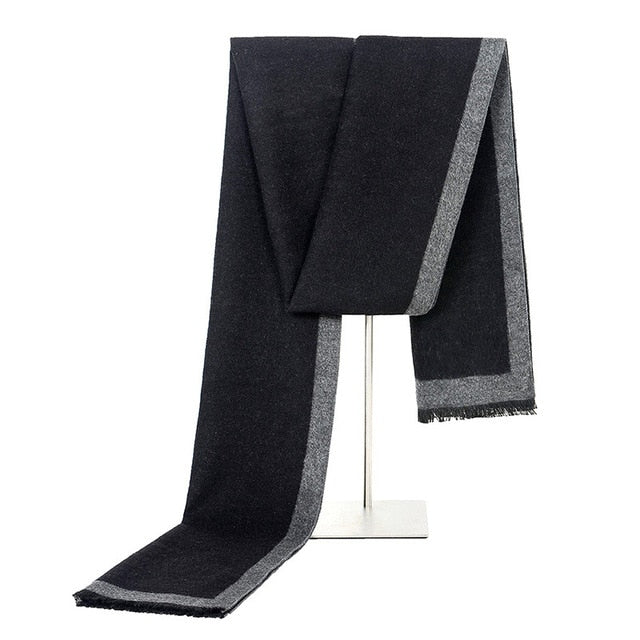 Men's Black Winter Fashion Scarf