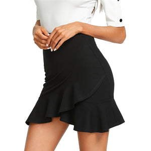 Women's Black Asymmetrical Ruffled Skirt