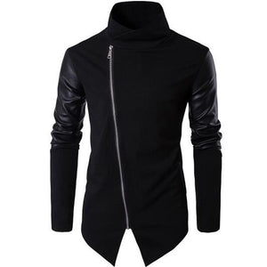Men's Black Cross Cut Slim Fit Jacket
