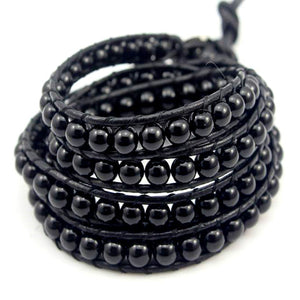 Unisex Black Beaded Wrist Wrap