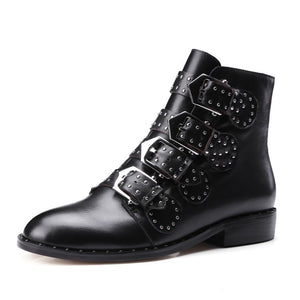 Women's Leather Buckle Strapped Boot