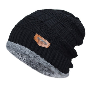 Men's Black Beanie with Fur Lining