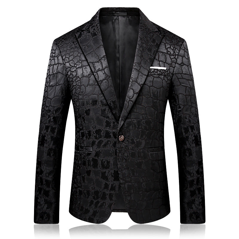 Men's Black Leopard Blazer