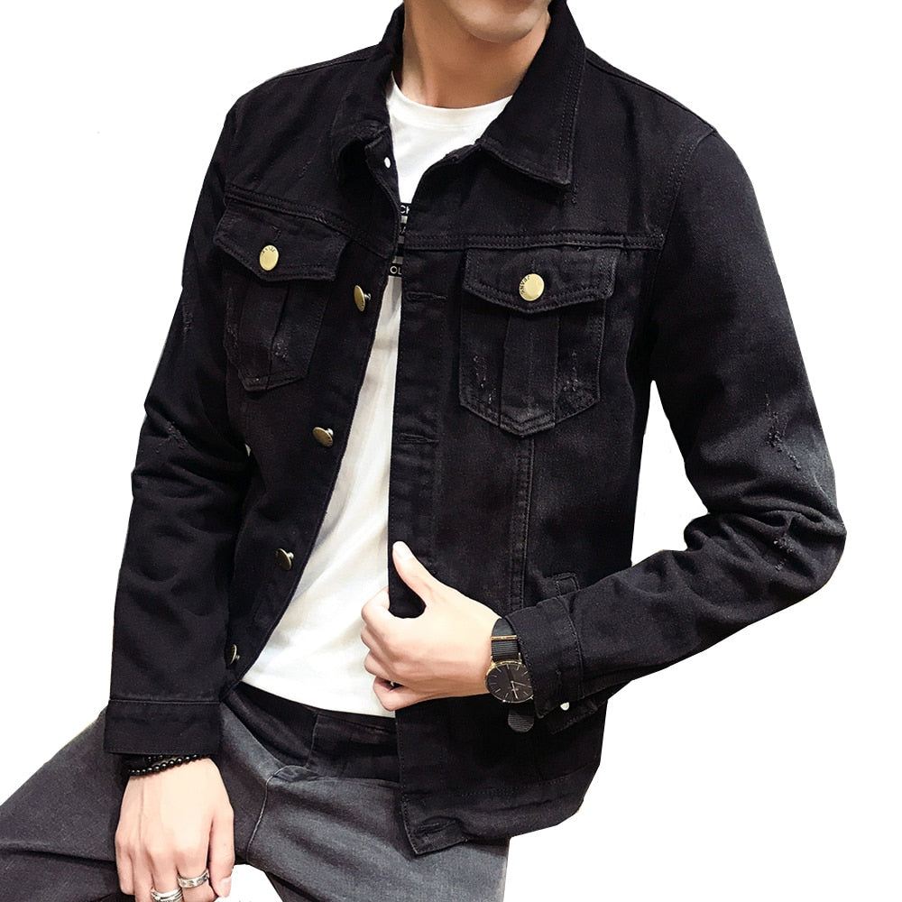 Men's Black Distressed Denim Jacket