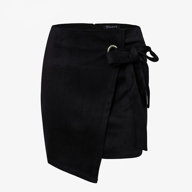 Women's Black Split Tie Suede Skirt