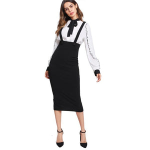 Women's Black High Waisted Suspender Pencil Skirt