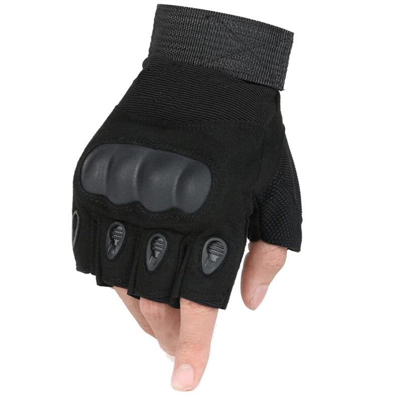 Men's Black Fingerless Military Style Gloves