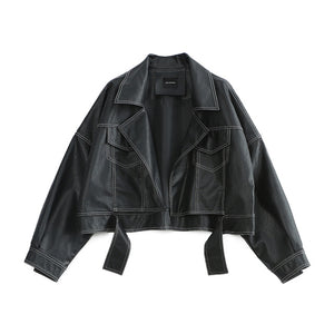 Women's Black EAM Tough Love Oversize Batwing Faux Leather Jacket