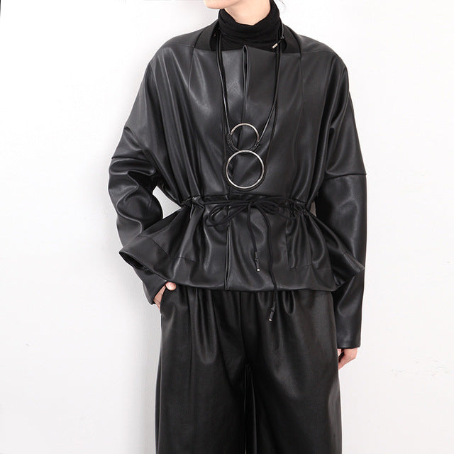 Women's Black Oversize Tie Wrap Jacket