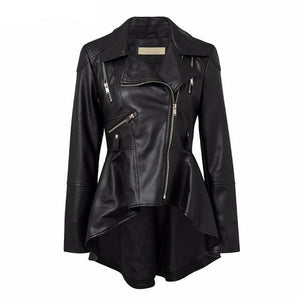 Women's Black High Low Leather Jacket