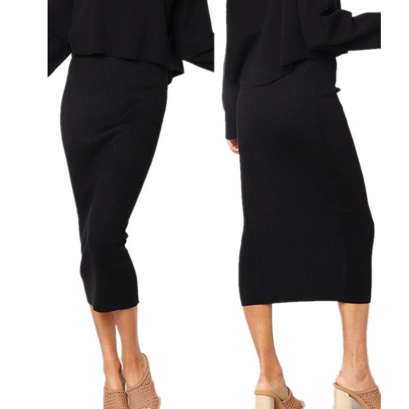Women's Black Knitted Bodycon Long Skirt