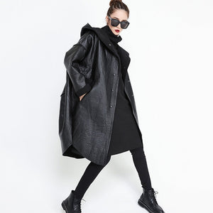Women's Black Oversize Perfect Couture Hooded Jacket