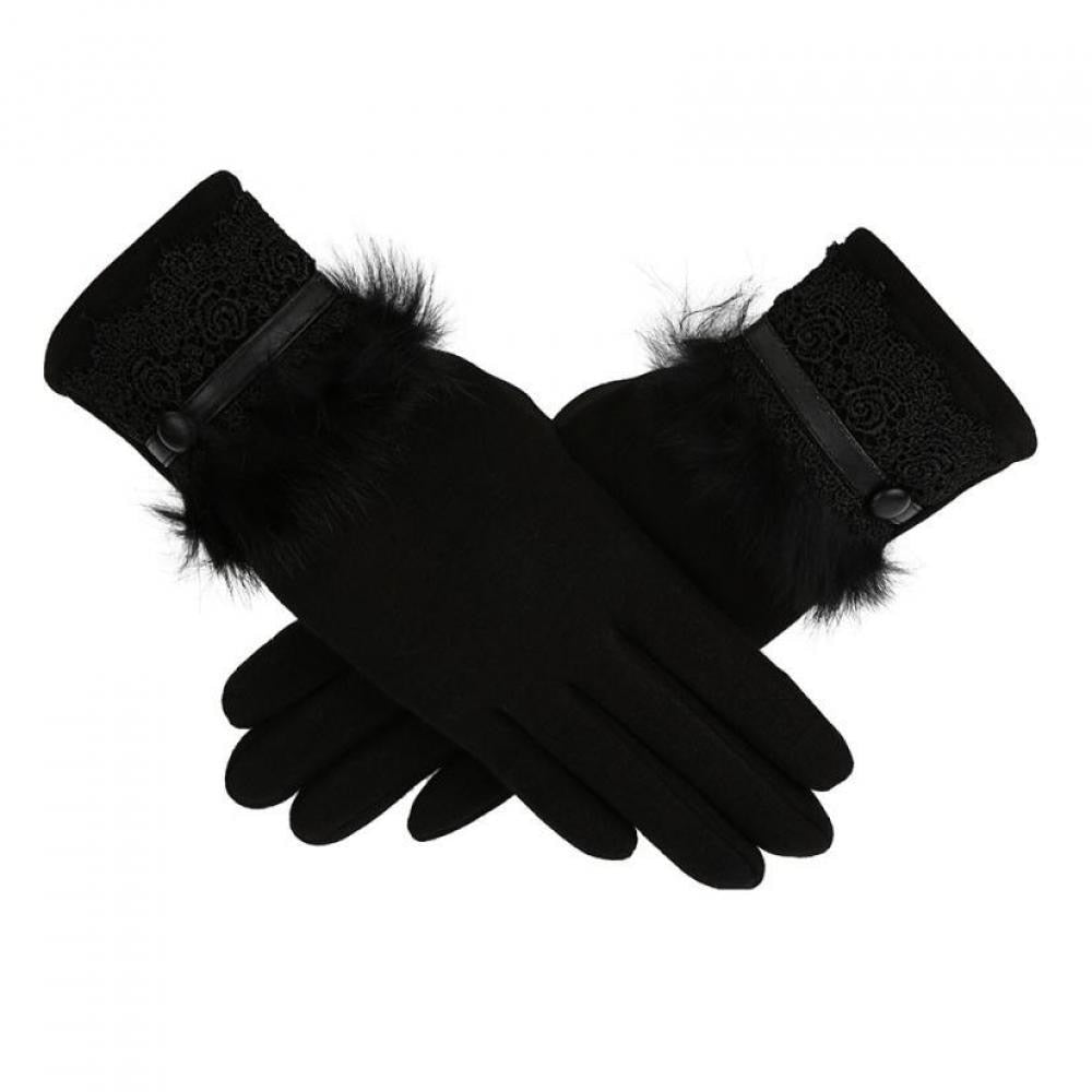 Women's Black Gloves with Fur and Lace Trim