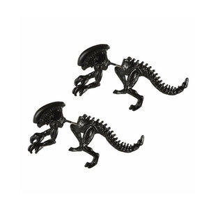 Unisex Black Skeletal Dinosaur Earrings