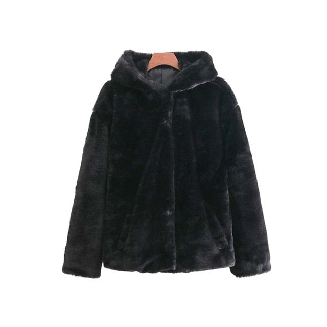 Women's Black Faux Fur Hooded Jacket