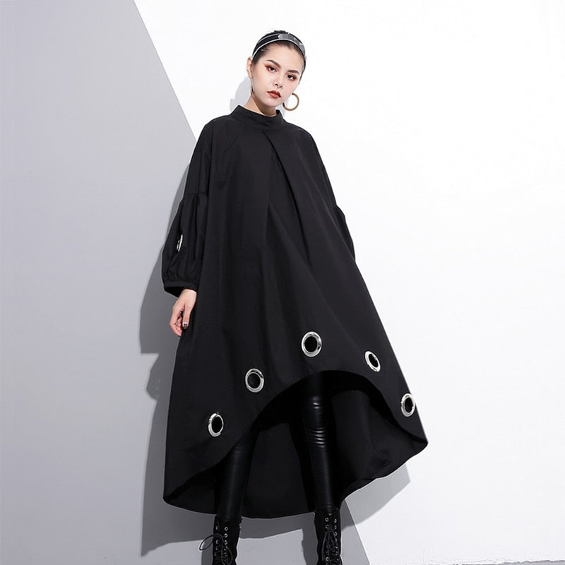 Women's Black Long Sleeve Hollow Ring Dress