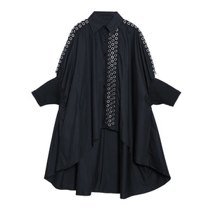 Women's Black Batwing Long Sleeve Blouse Dress