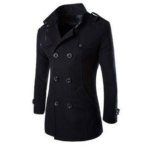 Men's Black Button Up Overcoat