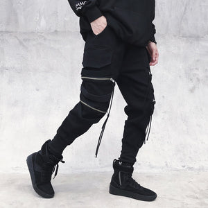 Men's Black Punk Street Style Pants