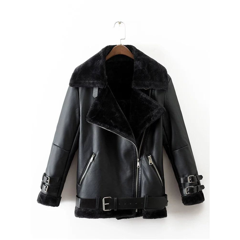 Women's Black Faux Leather Belted Jacket with Fur Lining